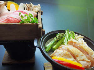 天栄湯:*【せいろ蒸し・陶板焼き】白河高原清流豚のせいろ蒸しと、会津地鶏の陶板焼きをお選びいただけます。