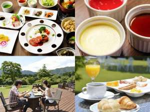 芦ノ湖畔のカジュアルリゾート 箱根レイクホテル:ご夕食はご飯、豚汁、デザートなどはお好きにお取り頂けます。澄んだ空気の中、テラスでの朝食も格別。