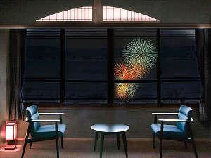 ぬのはん:湖上に浮き上がる花火の華をお部屋で鑑賞。お部屋の真正面にあがる花火は迫力満点。