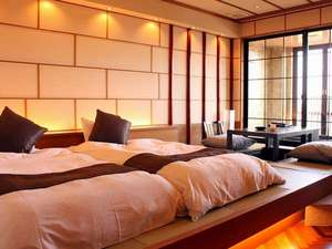 リゾートヒルズ豊浜 蒼空の風 ~SORA no  KAZE~:【露天付洋風和室36㎡】和ベッド+掘り炬燵。デザイナーによる設計でカップル、ご夫婦に人気なお部屋♪