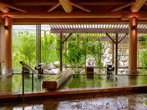 飯坂ホテル聚楽(じゅらく):湯温異なる多彩な内湯【花ももの湯】
