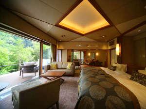 大谷山荘:水と緑をそばに感じる。ガーデンスイート(源泉かけ流し露天風呂付)