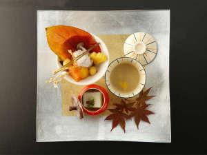 大谷山荘:【秋会席】見た目にも味わいにも。ご当地ならではのとれたての秋の味覚をお愉しみくださいませ。