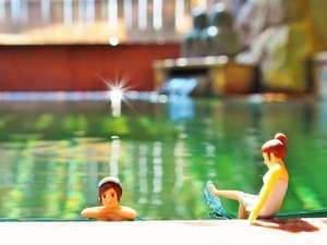 心がふれあう 民芸の宿中央ホテル:ひと晩中入れる掛け流し温泉 コップのフチ子温泉イメージ