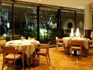 くつろぎの高原リゾート コロシアム・イン・蓼科:白樺林がライトアップされ、食事時間を華やかに彩ります。