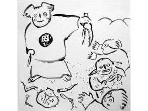 ③ある日、一人で食べるのに飽きたコウラギは山の妖精たちにさばいたカニを分けるようになった。