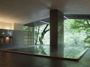 【大浴場(半露天)】さらりとした肌触りのよい源泉を箱根の四季とともにお愉しみください