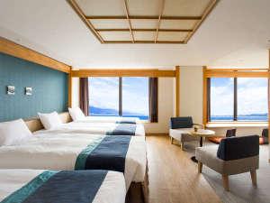 びわ湖大津プリンスホテル:分割式のナイトテーブルや家具の導入によりファミリーやグループなど最大4名さままでご利用可能。