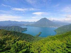 中禅寺湖と男体山の新緑