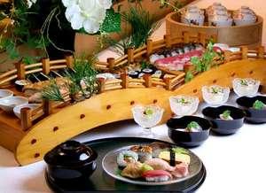 毎月第2、4木曜日は「吉翠亭」で寿司バイキングを開催。茶碗蒸しや、甘味もあり。大人¥3,500。