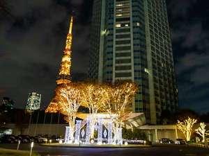 東京タワーを背に華やかに輝くウインターホリデーイルミネーション