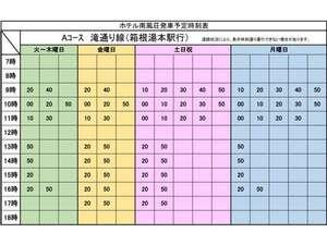 旅館共同バス時刻表(ホテル南風荘発)2021.01.26~