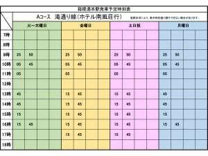 シャトルバス時刻表(箱根湯本発)片道100円