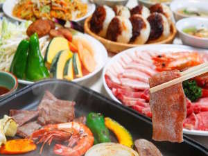 森の別荘 ネイチャービレッジ諏訪塩嶺:信州牛焼肉セット内容【お肉(牛、豚、鶏)、野菜、信州みそ焼きおにぎり】