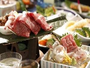 天然温泉100%の3種の無料貸切風呂の宿 山水荘:野菜、魚、肉と旬の地の食材をふんだんに使ったメニュー。
