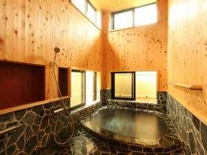 天然温泉100%の3種の無料貸切風呂の宿 山水荘:2012年9月リニューアルの石畳風呂。
