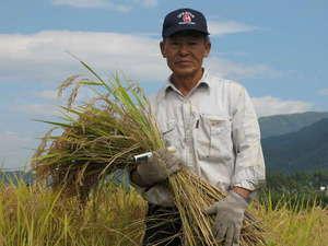 御宿 飯山館:当館でお出ししている、コシヒカリ米の生産者(木島平村)の「小松荘平」さんです。