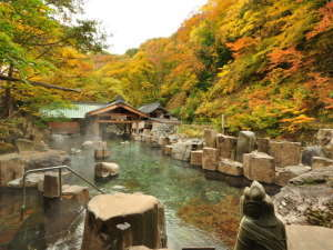 宝川温泉 汪泉閣:『摩訶の湯』秋・混浴・100畳/紅葉の時期にはまっ赤に染まり見る人を驚かせます。