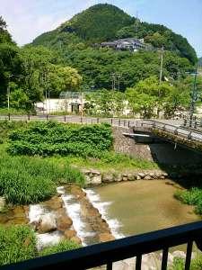 河畔の宿 千曲荘:お部屋からの景観。緑の香りがする風が入り、水の綺麗な川にはヤマメが泳ぎます。