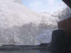 あんきな宿 宝山荘別館:冬の晴れ間の露天風呂からの景色