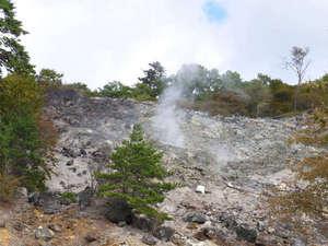 奥塩原温泉 湯荘 白樺:*湯気の立ち上る「硫黄山」。ここから成分の濃い良質な温泉が供給されます。