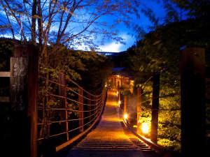 広大な約1万坪の中にかかる吊橋「観樹橋」を渡って各離れへ