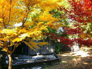 旅行人山荘:紅葉が美しい貸切露天 もみじの湯