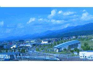 ホテル屋上より 眼下には新庄駅