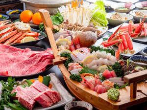 但馬牛のしゃぶしゃぶに但馬牛ステーキ、日本海の豪華舟盛に焼きガニと欲張りコースになります。