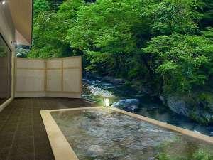 蓼科温泉ホテル親湯 山と渓流に抱かれた露天風呂の宿:渓谷を望む絶景の露天風呂