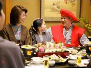 宮島グランドホテル有もと:おじいちゃんの還暦祝いを家族みんなで。瀬戸内海の幸に舌鼓み。