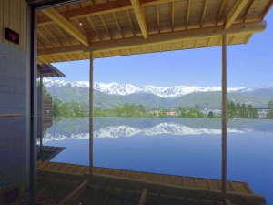 白馬姫川温泉 白馬ハイランドホテル:新温泉、わらび平の湯の内湯からもアルプスの山並みが素晴らしすぎです!!ヤバいですw