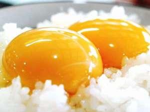 遊湯ぴっぷ:朝食の卵かけご飯は 大熊養鶏場のかっぱの健卵を使用。濃厚でコクが抜群♪