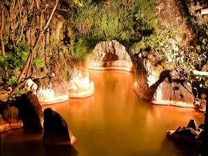 大洞窟の宿 湯楽亭:露天風呂に入り口がある洞窟風呂
