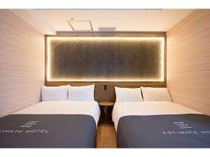 エスティネートホテル:デラックスルーム。ハリウッドツインスタイルにも変更できてゆったり。