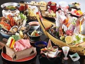 三朝館:【贅沢味覚会席】舟盛り、贅沢鍋は2名様盛り