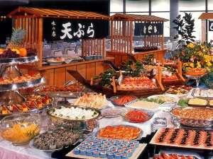 ハトヤホテル:海鮮和食を中心としたバイキング(珈琲・紅茶・お茶がフリードリンクとなります)