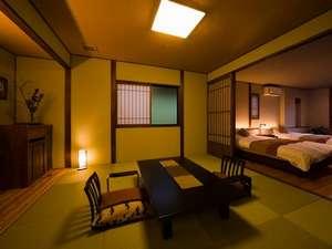 日常から少し遠くへ・・ 懐古ロマンの宿 季さら:本館客室一例和室の8畳と洋室セミダブルベッドルーム