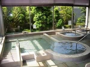 遊学の館:大浴場(洋風) 高温サウナ・ミストサウナ・ジャグジー・薬草湯、森の香湯(週替り)も好評です!
