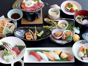 絹島温泉 ベッセルおおちの湯:◆【牛ロースステーキと寿司会席】※写真は一例です。