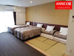 ザ・ベース・堺東・アパートメントホテル:【ANNEX館も全室35㎡の和洋室】3名様以上宿泊時は、畳スペースに布団をセット(最大2枚迄)