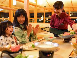 泉ヶ岳温泉やまぼうし:*【夕食のひとコマ】手を合わせて「いただきます!」