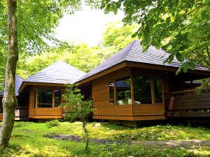FunSpace芦ノ湖キャンプ村レイクサイドヴィラ:緑豊かな園地内の貸別荘風コテージ「ケビン連立棟」(1棟定員6名)