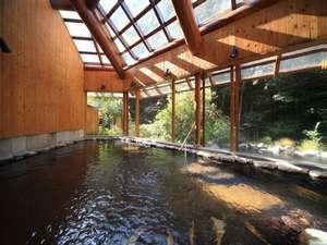 椎葉山荘:山の湯:椎葉山荘宿泊のお客様専用温泉、内風呂(秋の景観が見れる露天風呂付)