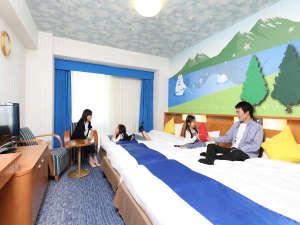 ホテル京阪 ユニバーサル・シティ:コンフォートレイク(27㎡/3-4名1室)ベッドをくっつけて、みんななかよし。