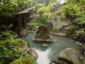 おおぎ荘:女性用露天風呂です。木々に囲まれた岩風呂になっております。