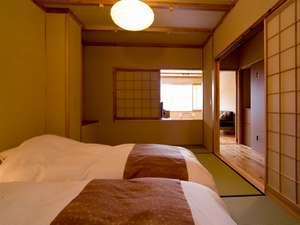 匠の宿 深山桜庵(みやまおうあん):【半露天風呂付き和洋室】和室部分には和ベッドをご用意。