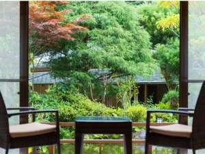 森香る渓流沿いに佇む温泉と地魚の宿 運龍:庭を望む一階和室
