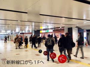 ①新幹線口から1Fへ