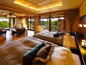 日本百景に囲まれた洞窟風呂の宿 百楽荘 能登九十九湾:□ガルフスイート-GULF suite-海游□限られた方の特別室。眼下に広がる景色と上質の空間を